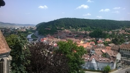 Panoramic view from the Clock Tower with the Târnava Mare river in the background.