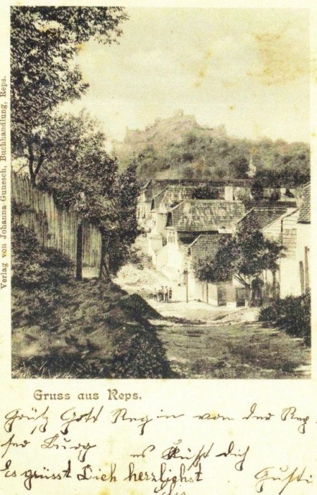Another postcard of the then village of Reps written in German.