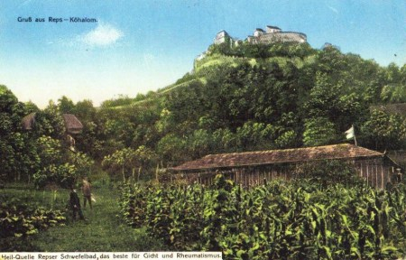 A postcard written in German highlighting the citadel on the hilltop and the surroundings.
