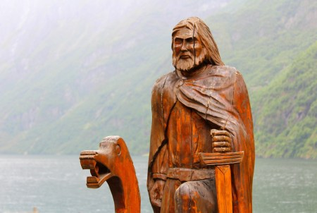 Wooden sculpture of a Viking in the UNESCO Nærøyfjord, Aurland municipality, Sogn og Fjordane county, western Norway.