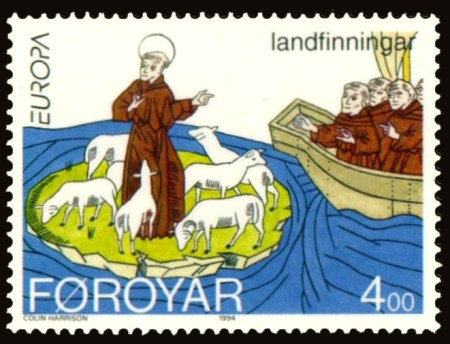 A Faroese stamp illustrating the settlement of the Faroe Islands by Saint Brendan. Image source: www.wikipedia.org