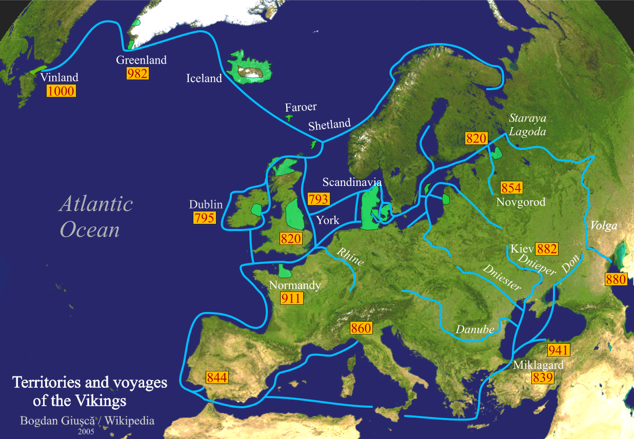 detailed map of trade routes and territorial possessions of the nor during the viking age