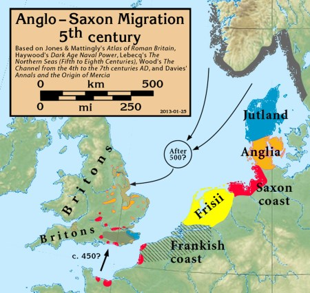 Map depicting the homelands of the Anglo-Saxons coloured in blue (for Jutes), orange (for Angles), red (for Saxons), and yellow (for Frisians). Image source: www.commons.wikimedia.org
