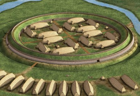 Reconstructed elevated view of the trelleborg near the Danish town of Slagelse. Image source: www.medieval.mruguala.net