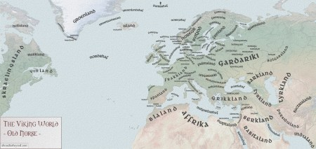 Map of the known world to the Norsemen depicting place names in Old Norse. Image source: www.abroadintheyard.com