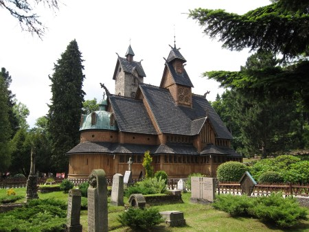 The reconstructed Vang stave church which was transferred to Karpacz, south-western Poland. Image source: www.pixabay.com