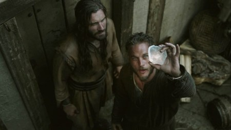 Clive Standen and Travis Fimmel as Rollo and Ragnar Lothbrok in Irish-Canadian production 'Vikings' on History Channel. Ragnar uses the sunstone sometime during the first season of the serial. Image source: www.timeslipsblog.wordpress.com