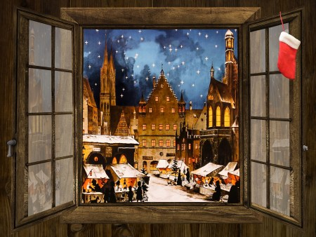 Artist's impression of a Christmas market.