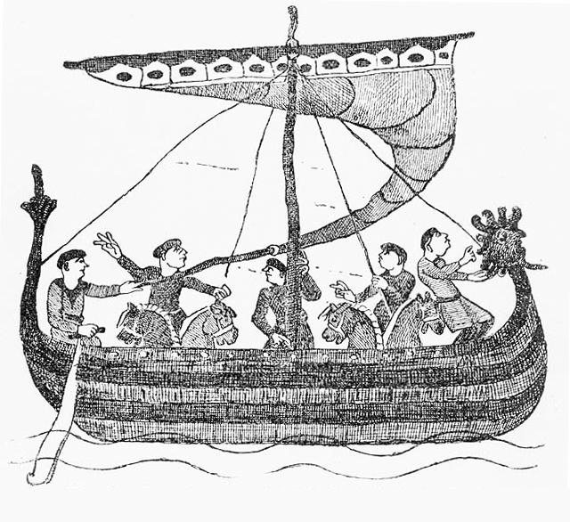 8a257b3c0ff Viking Age longship decorated with a dragon head on the bow. Illustration  from the Bayeux Tapestry. Image source  www.commons.wikimedia.org