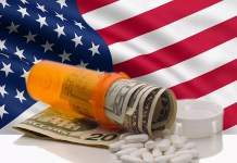 American flag and prescription bottle with dollars 800 x 600