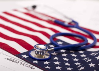 American flag with stethoscope