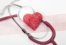Sugary heart on stethoscope and EKG 2048 x 1365
