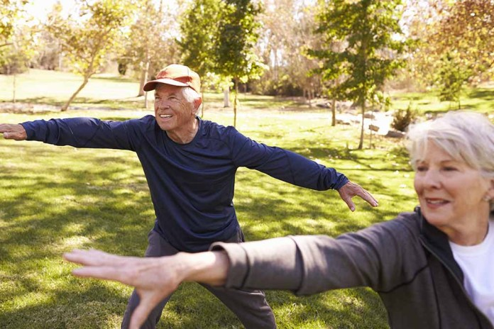 Aging adults practicing Tai Chi