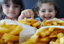 Little girls ready to french fries