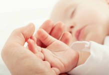 hand the sleeping baby in the hand of mother close-up 1500 x 996