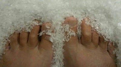 bare feet in snow | Gratitude