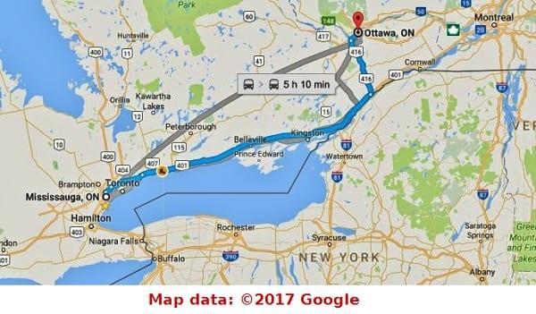 Map, Toronto to Ottawa EPITAPH   #AtoZChallenge