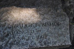Bridget Bishop's stone at The Witches' Memorial