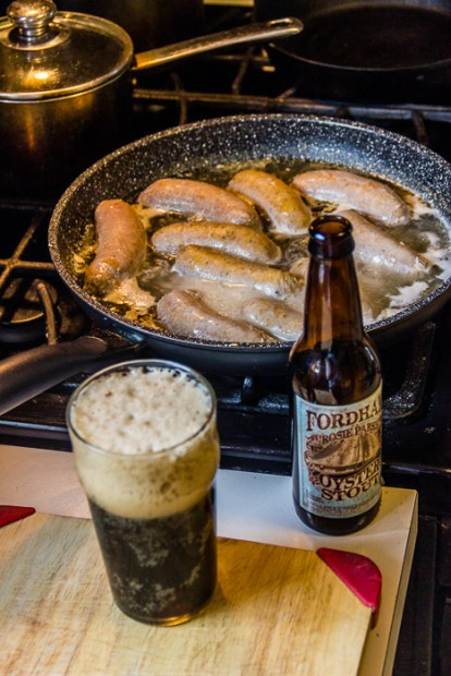 Late breakfast is always bangers and mash, and a beer (don't judge).