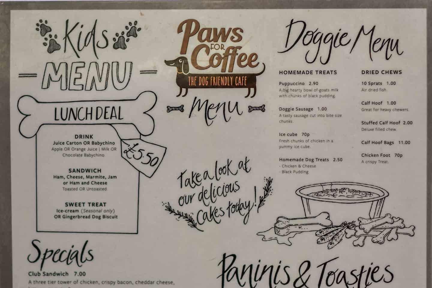 Things to Do For London Dogs 14-17 June - Paws For Coffee Menu