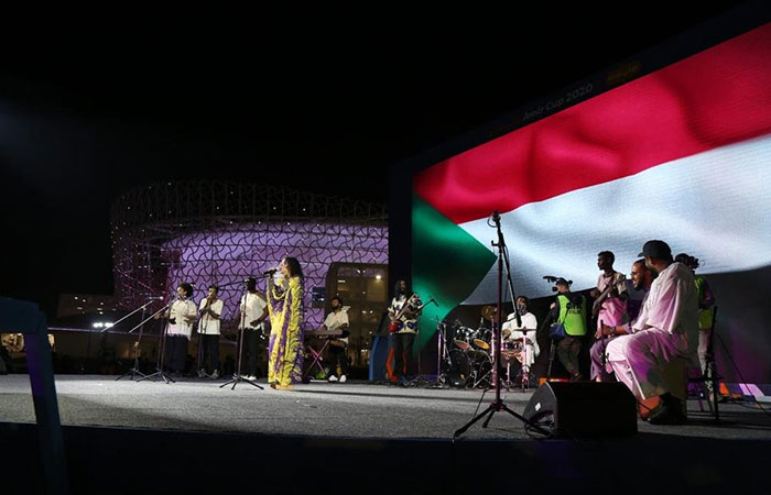 Members of the Sudanese community at a programme of the Supreme Committee for Projects as part of the preparations for the Qatar World Cup 2022