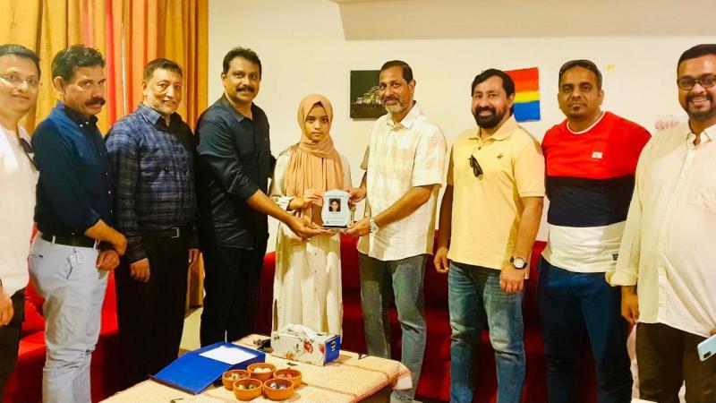 Mahe expat body honours Laiba for publishing book on Amazon