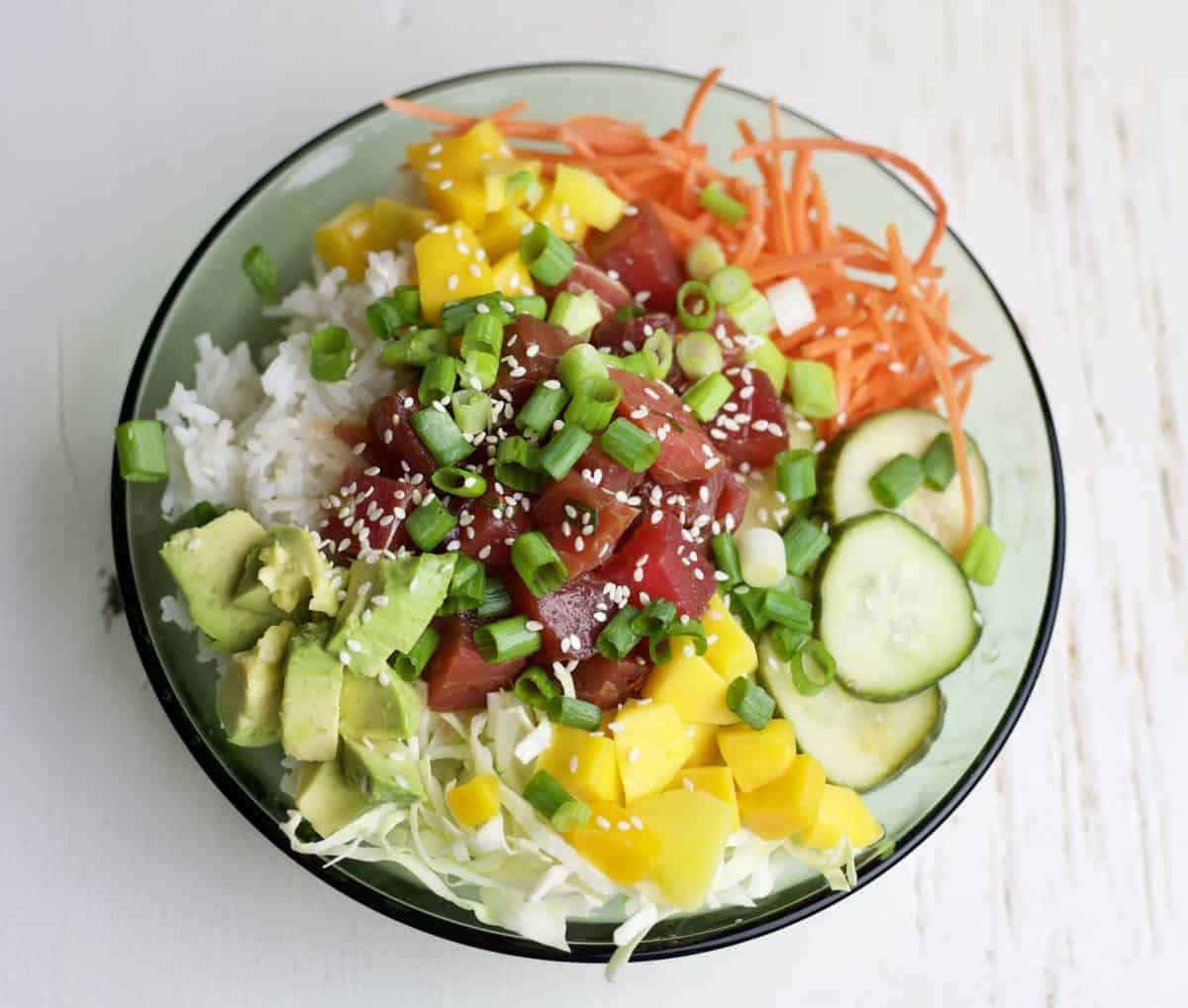 Ahi Tuna Rice Bowl With Mango The Domestic Dietitian