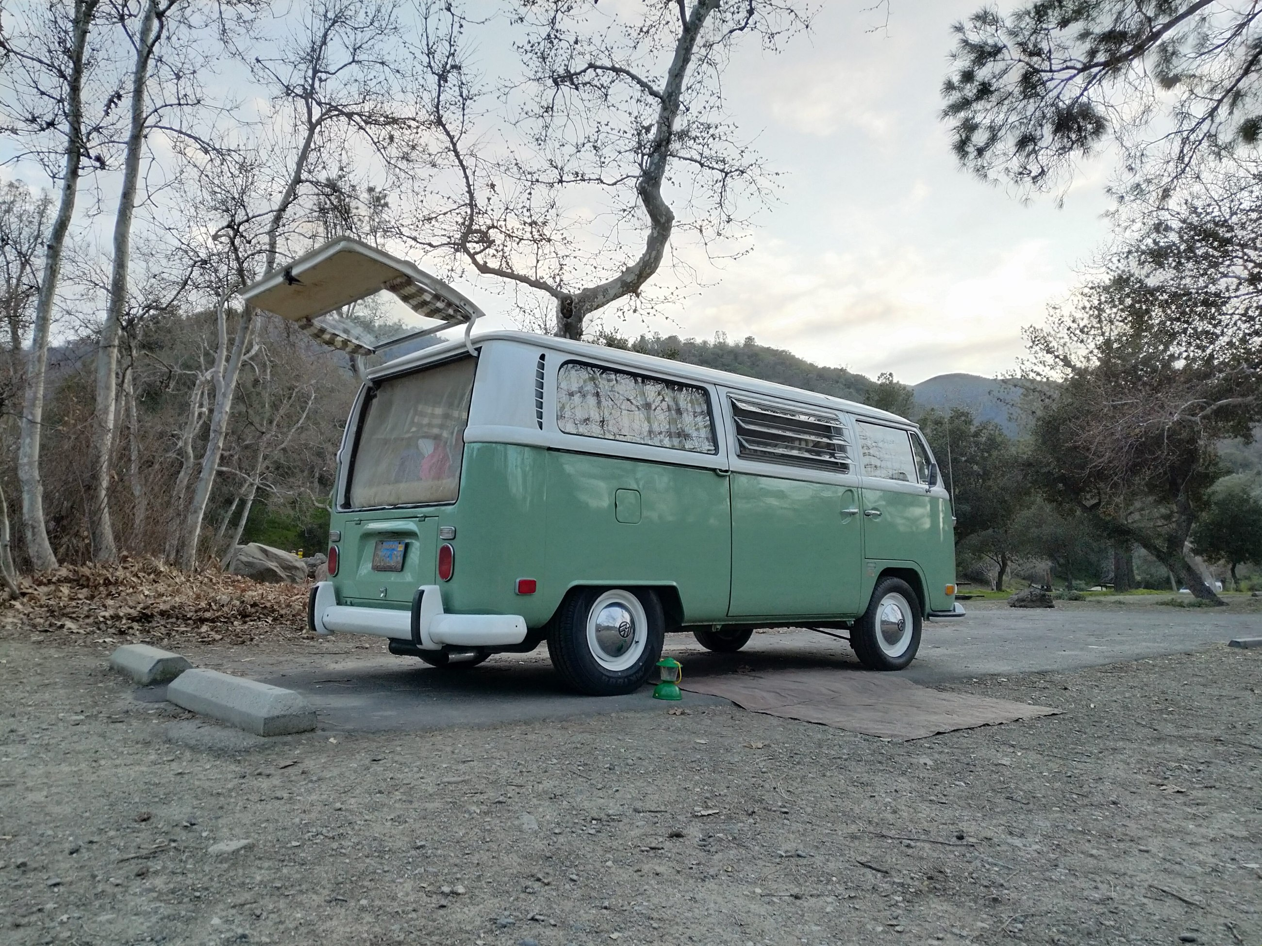 healthy camping food in vw van
