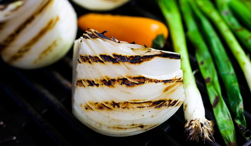 grilled vegetables while camping