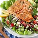 greek salad with air fryer salmon recipe