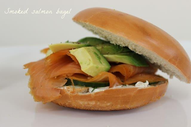 Salmon bagel sandwich with avocado