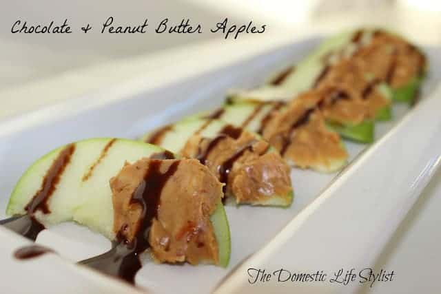Slices chocolate and peanut butter apples