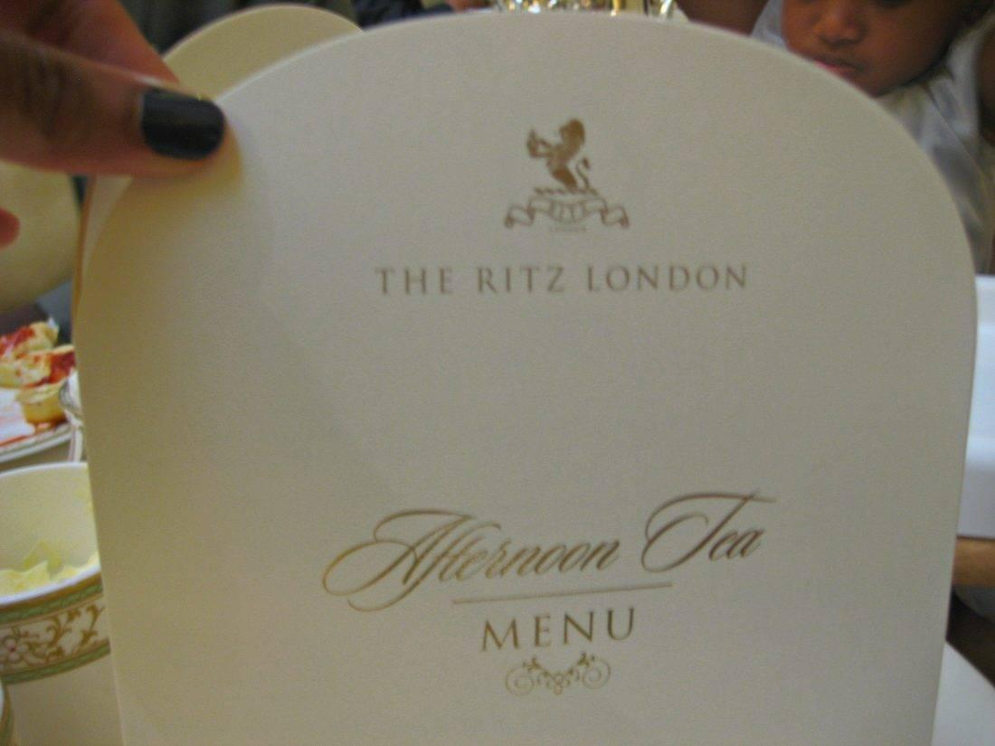 Ritz London Tea menu