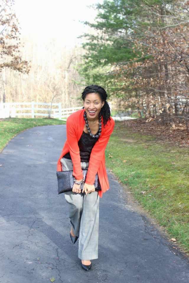 lace black shirt with orange cardigan