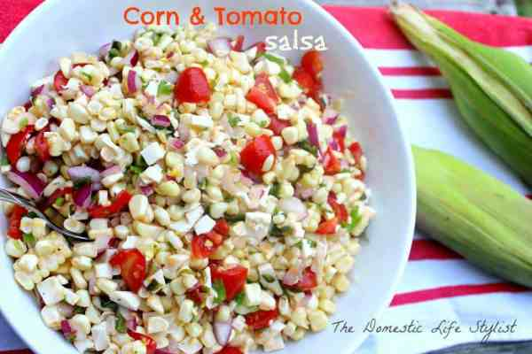 This corn & tomato salsa is so delicious. The fresh ingredients like summer corn and tomatoes is what really makes this dish.