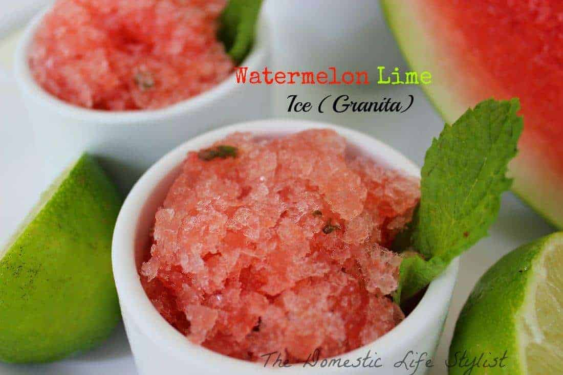 Watermelon lime ice/granita. This is so simply and delicious. Anyone can make it.