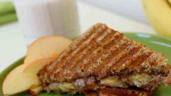 Grilled almond apple/butter banana sandwich