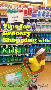 kids grocery shopping with cart