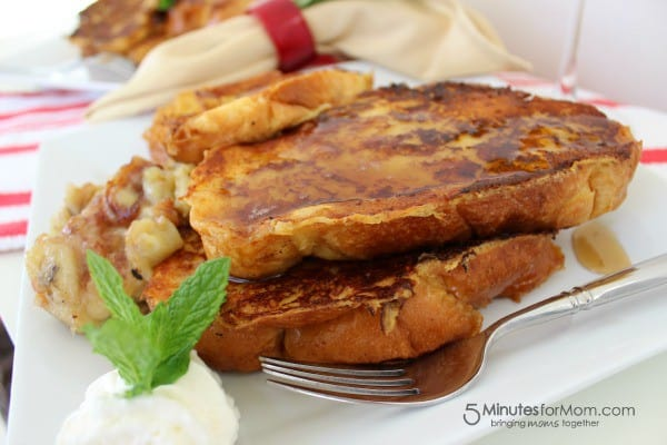Eggnog French toast with bananas