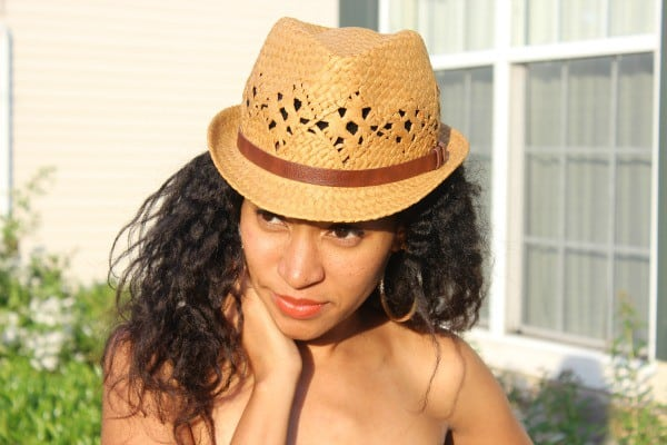 fedora with brown strap