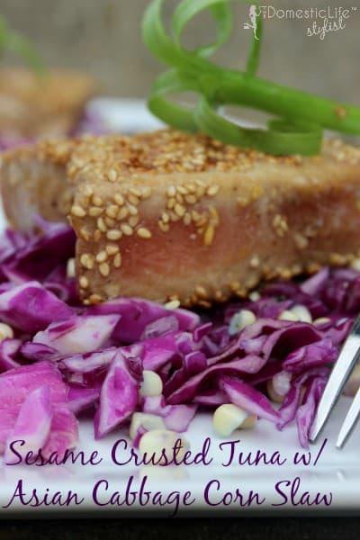 Sesame Crusted Tuna Salad with Asian Cabbage Corn Slaw
