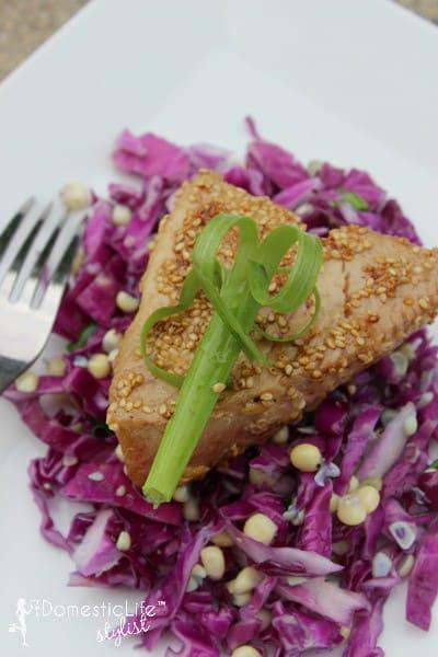 sesame crusted tuna salad with cabbage corn slaw
