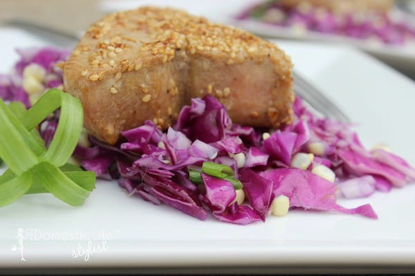 Sesame crusted tuna salad with cabbage corn salad