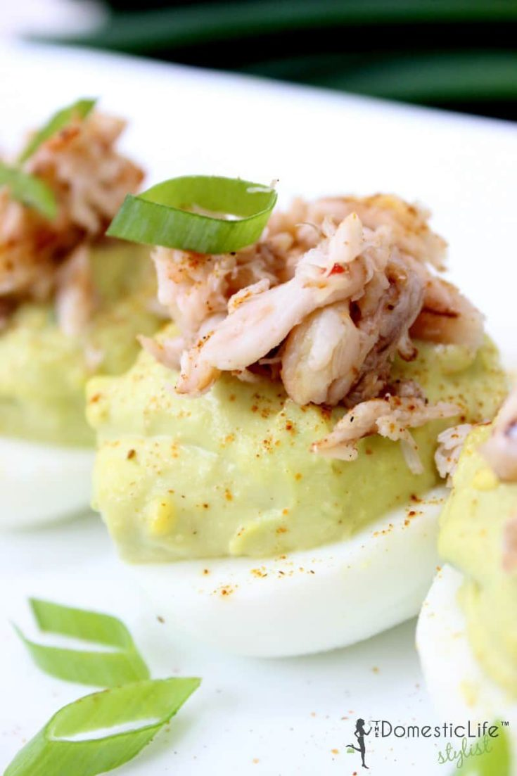 crab and avocado deviled eggs