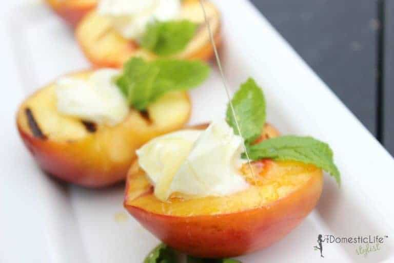 grilled peaches and macarpone
