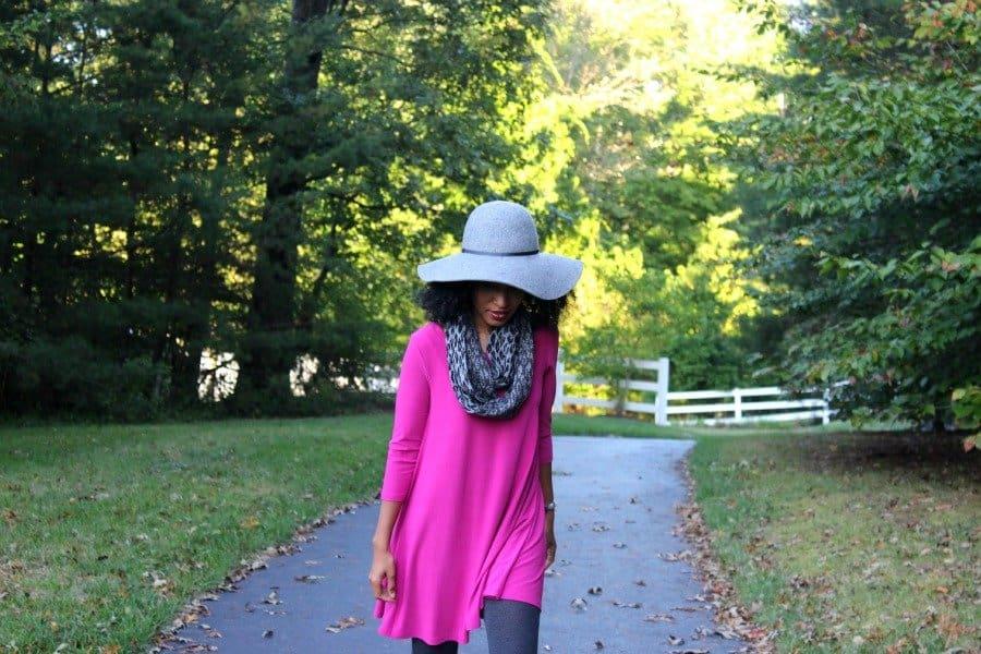 magenta dress felt gray hat 900x600