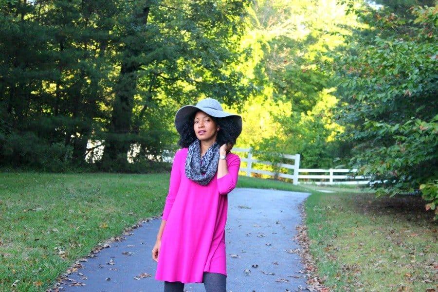 magenta dress felt gray hat fall look