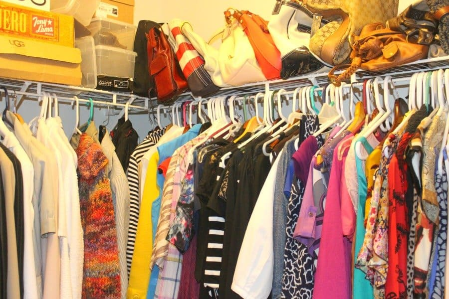 disorganized closet hangers