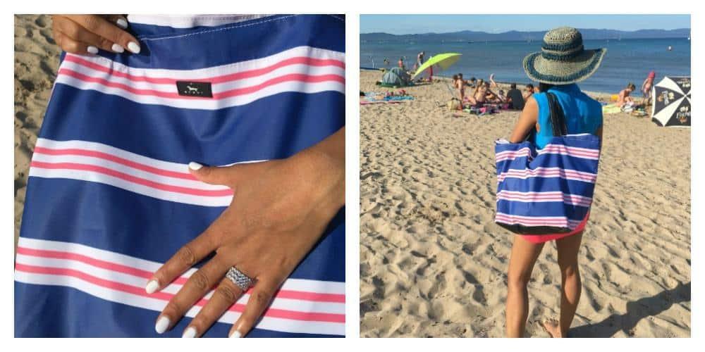striped beach bag