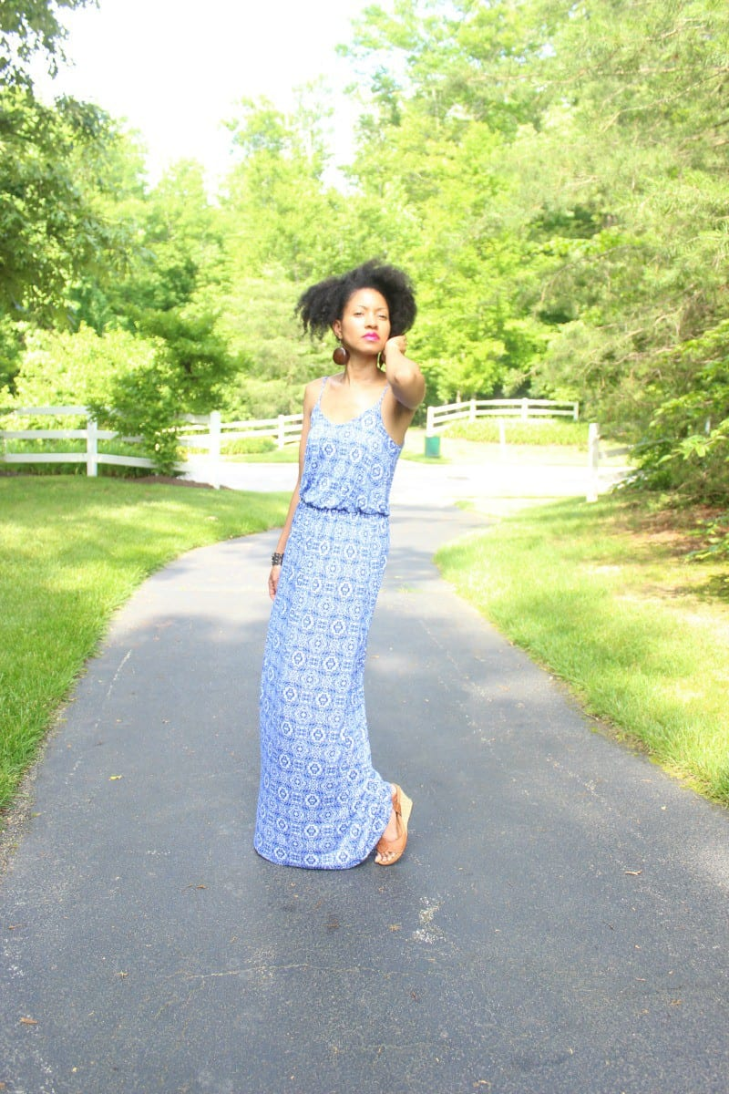blue and white lucy maxi dress geometric print5